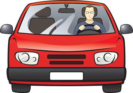 kleurenafbeelding van de jonge man in de auto