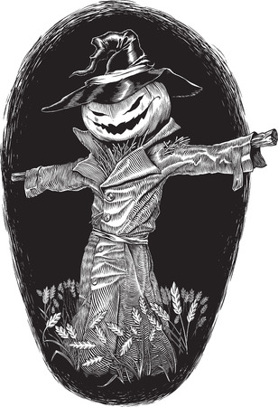 horror face:  black and white engraving style vector illustration on the Halloween theme