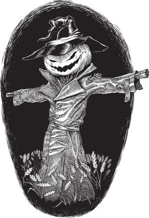 scarecrow: blanco y negro grabado ilustraci�n vectorial de estilo sobre el tema de Halloween  Vectores
