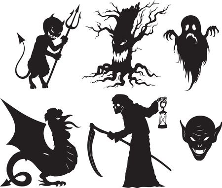 reaper: Black and white cartoon shapes on Halloween theme Illustration