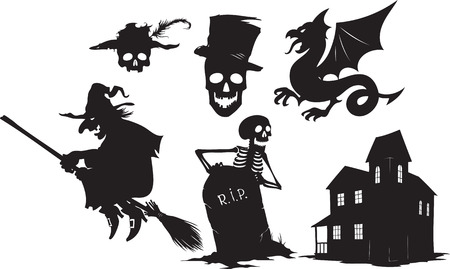 gravestone: Black and white cartoon shapes on Halloween theme Illustration