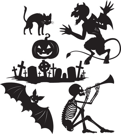 Black and white cartoon shapes on Halloween theme Vector