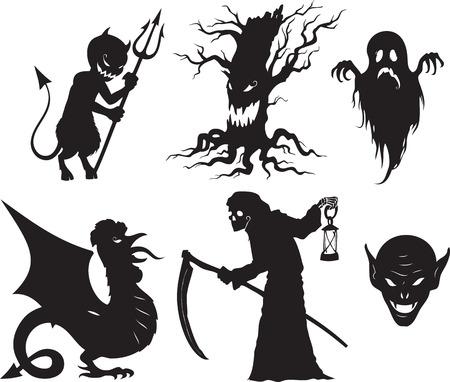 Black and white cartoon shapes on Halloween theme  Ilustração