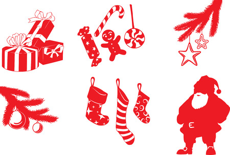 set of vector Christmas shapes in cartoon style Banco de Imagens - 8217747