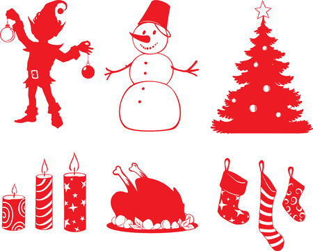 set of vector Christmas shapes in cartoon style