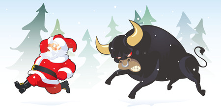 Scared santa claus escapes from mighty terrible bul Vector