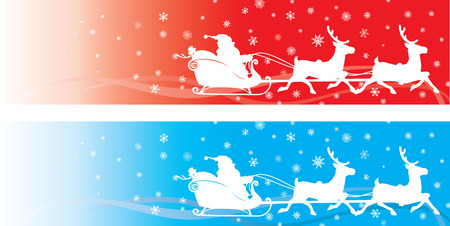 cartoon santa: color banner with santa and deers