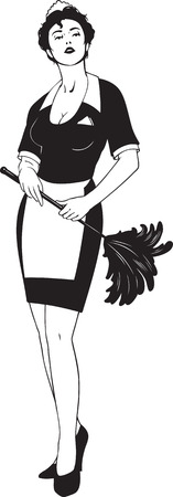 black and white illustration of cleaning woman Stock Vector - 8474236