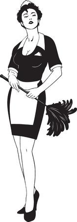 femme nettoyage: illustration noir et blanche de femme de m�nage