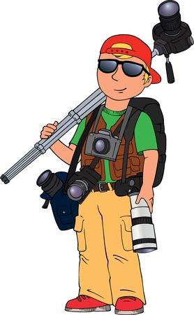 equipos trabajo: Imagen de caricatura de color del fot�grafo aislado en blanco Vectores
