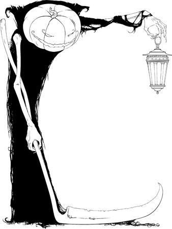 gruselig: Schwarz-Wei�-Halloween-Illustration mit freiem Platz f�r Text