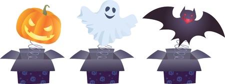 Color image of Halloween jack-in-the-boxes Ilustração