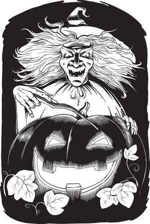 black and white halloween illustration of witch with magic wound Ilustração
