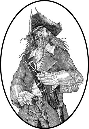 piratenhoed: zwart en wit vector illustratie van lachende piraat graveren stijl Stock Illustratie