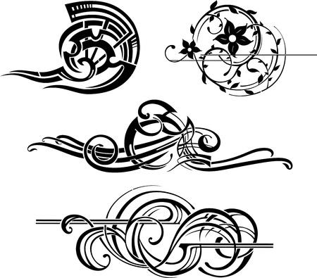 black and white decorative elements Ilustração