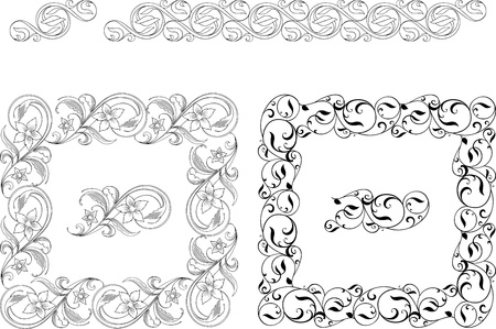 Black and white vector decoration elements, which can be used for borders and frames