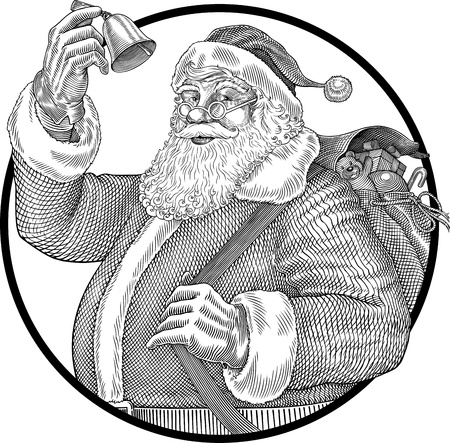 black and white illustration of Santa Claus ringing a bell Ilustração