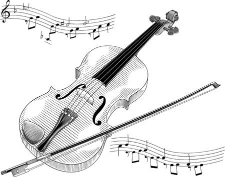 note musicali: bianco e nero illustrazione vettoriale di violino Vettoriali