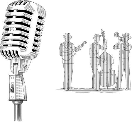 microfono antiguo: vector ilustración en blanco y negro con micrófono retro y banda de jazz