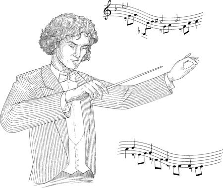 Black and white engraving  style vector illustration of conductor