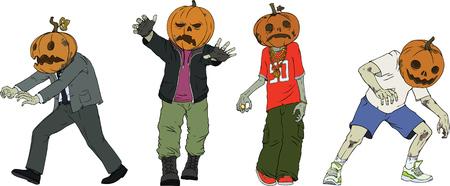 Cartoon vector zombie characters with helloween pumpkins heads
