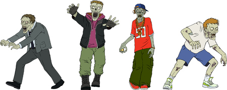 Cartoon vector zombie characters isolated on white