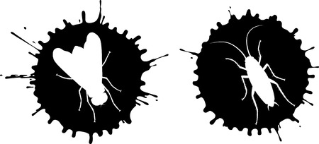 vector image: Vector blots with silhouettes of fly and cockroach