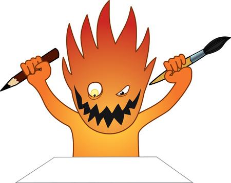 Cartoon vector image of drawing character