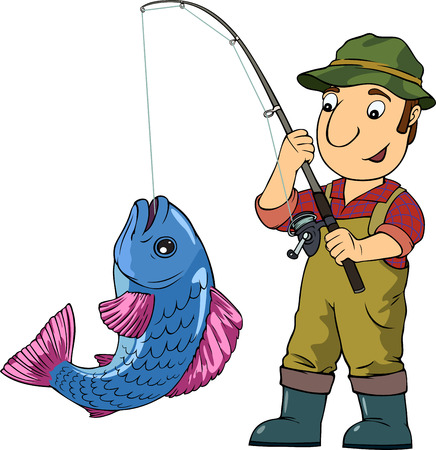 fishing equipment: Cartoon vector colored illustration with fisherman and his trophy