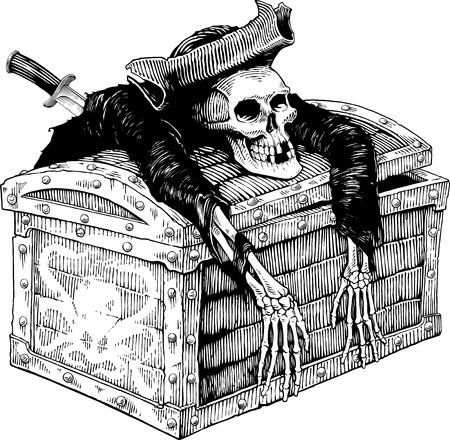 Zwart-wit vector tekening van piraat skelet op de borst Stock Illustratie