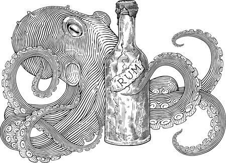 imagen en blanco y negro estilo de grabado con el pulpo que sujetan la botella de ron