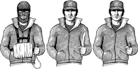 Black and white illustration with dangerous men