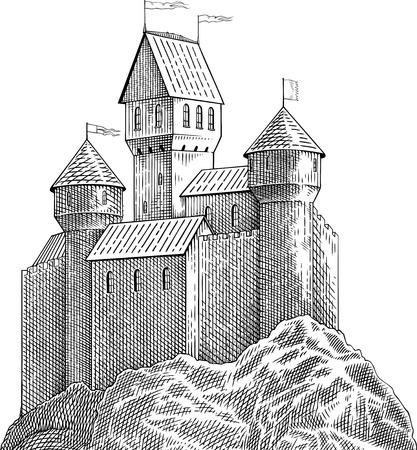 blanco y negro imagen de estilo de grabado con el castillo medieval en la roca