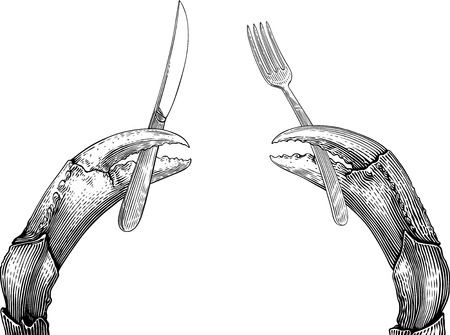 Black and white vector illustration with a twain crabs claws holding things. The things can not be separated from claws