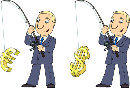 Cartoon  colored illustration with young man in suit catching money signs