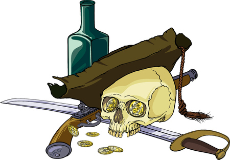 Color vector illustration with human skull wearing old hat, with sabre, pistol, golden coins and green bottle