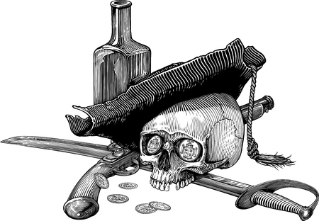 Black and white vector illustration with skull in ancient pirate hat with sabre, pistol, bottle and few coins Ilustração