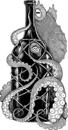 Black and white drawing of octopus with bottle (engraving imitation)