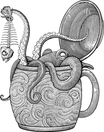 black and white vector draving with octopus sitting in a beer mug Ilustração