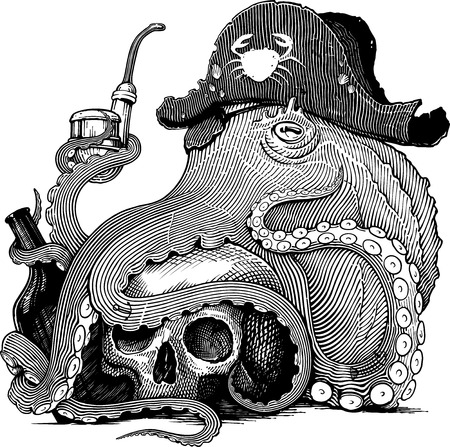 Black and white vector drawing of an octopus in pirates hat with skull, bottle and smoking pipe (woodcut style)