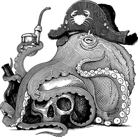 Disegno vettoriale in bianco e nero di un polpo con cappello da pirata con teschio, bottiglia e pipa da fumo (stile xilografia)