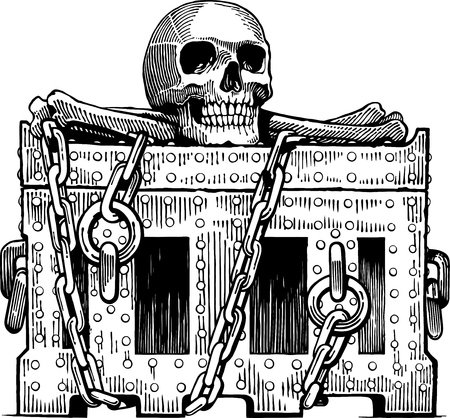 Black and white vector illustration of pirates chest with skull and bones