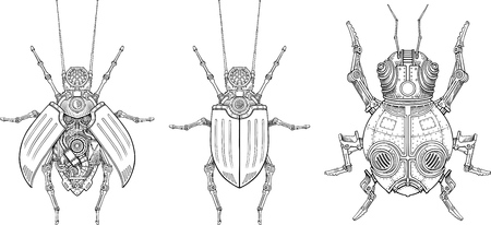 Vector drawings of mechanical beetles Illustration