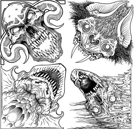 Black and white vector monster heads