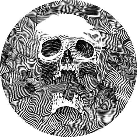 Black and white vector drawing of a human skull Banco de Imagens - 127758759