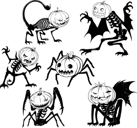 Set of vector halloween shapes with various pumpkinhead creatures