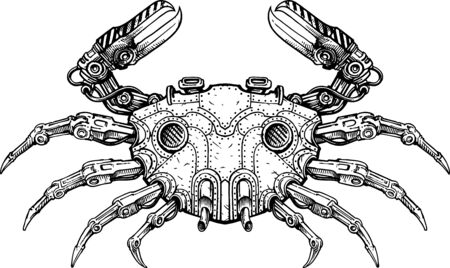 Black and white vector illustration of mechanical crab