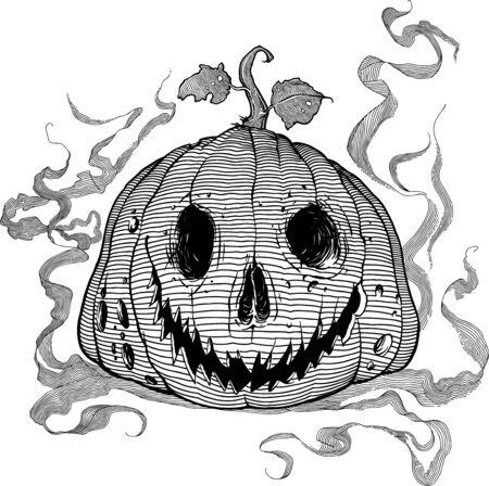 Black and white vector illustration for Halloween: rotten pumpkin lantern Ilustração
