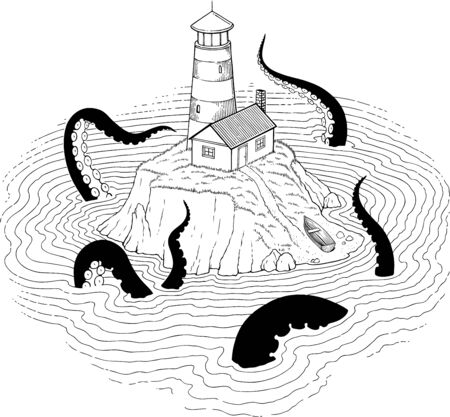 Black and white vector illustration of sudden visit to the lighthouse