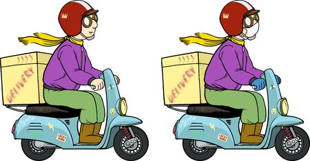 Color vector illustration of a delivery man on a scooter bike